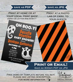 Editable Halloween Baby Shower Invitation, Halloween Baby Boy, Oh Boo-y Baby Ghosts Costume Party Invite, diy Printable