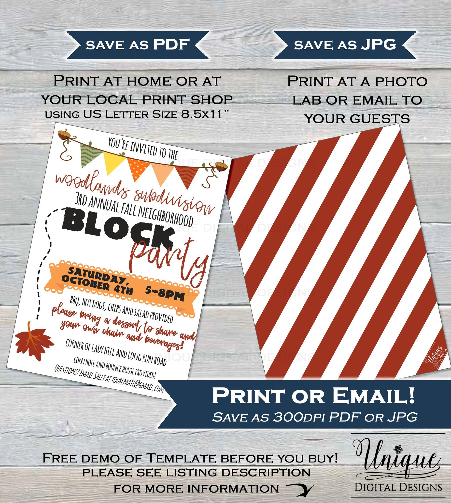 Neighborhood Block Party Invite Editable Street Printable Invit