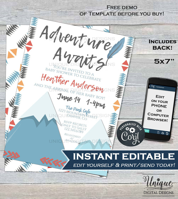 Adventure Awaits baby shower Invitation, Editable Mountain Adventure Begins, A New Adventure, Boy Baby Shower Printable