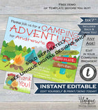 Camping Birthday Invitation, Editable Glamping Invitation, Backyard Bonfire Invite, Camping Sleepover Smores Campout Party