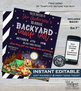 Backyard Camping Invitation, Editable Birthday Bonfire Party Invite, Glamping Sleepover Campout Birthday Invitation Smores,