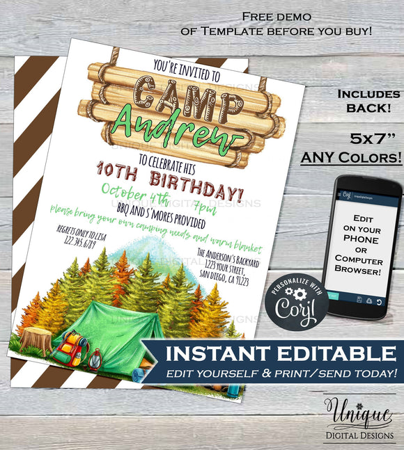 Camping Birthday Invitation, Editable Glamping Invitation, Backyard Bonfire Invite, Campfire Camping Smores Fall Party,
