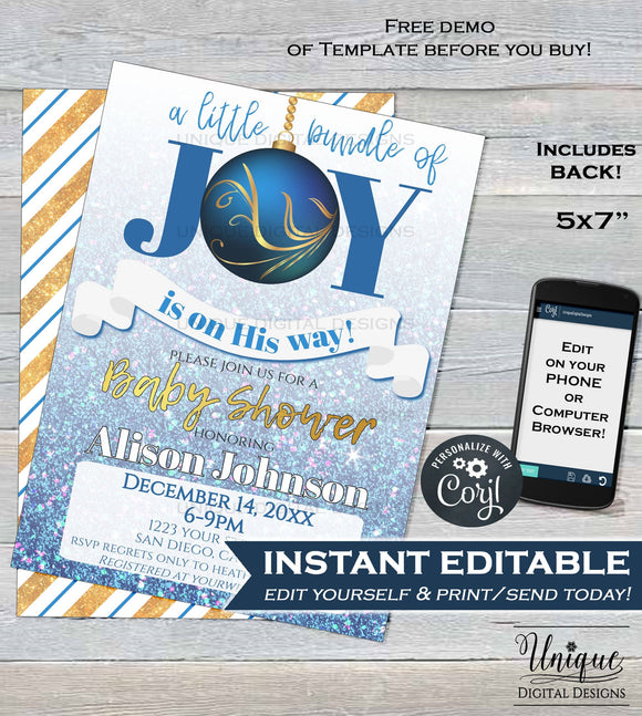 Editable Christmas Baby Shower Invitation, Baby Sprinkle Baby Boy Invite, Baby Bundle of Joy on the Way Template Print INSTANT DOWNLOAD 5x7