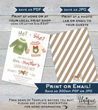 Christmas Gender Reveal Invitation, Editable Ugly Christmas Sweater Invite, He or She Baby Boy or Girl Custom Printable INSTANT ACCESS 5x7