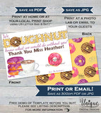 Donut Thank You Gift Card holder, Editable Thank You Doughnut Thank you Card School Coffee and Donut Template Printable INSTANT ACCESS 5x7