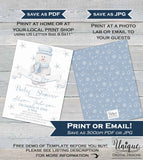 Rustic Christmas Baby Shower Invitation, Editable Boy Baby Shower Invite, It's a Boy Snowman Holiday  Printable