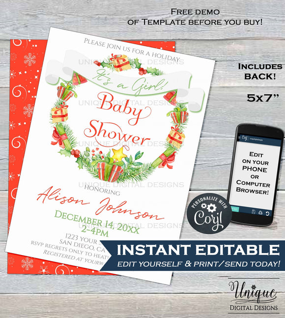 Editable Christmas Wreath Baby Shower Invitation, Baby Sprinkle Baby Girl Invite, Holiday Baby Printable