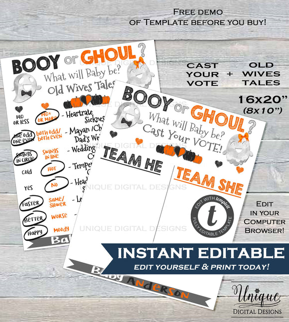 Halloween Gender Reveal Party Decorations, Old Wives Tales + Cast Vote Signs, Baby Ghost Ghoul or Booy Editable He or She INSTANT DOWNLOAD