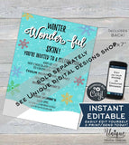 Winter Wonder Invitation, Editable Rodan Business Launch Party BBL Invite, R F Kissmas Winter Skincare, Electronic Digital