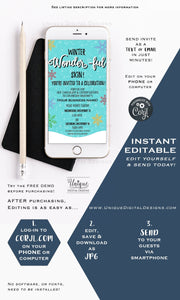 Winter Wonder Invitation, Editable Rodan Business Launch Party BBL Invite, R F Kissmas Winter Skincare, Electronic Digital INSTANT DOWNLOAD