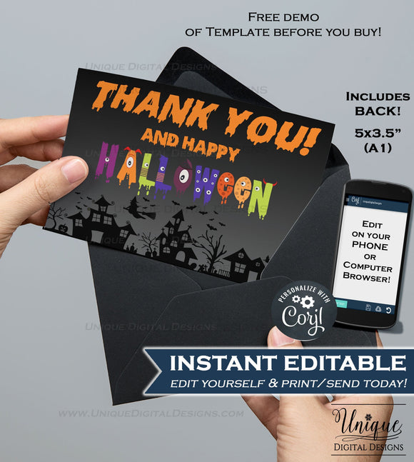 Printable Halloween Thank You Cards, Editable Halloween Thank you, Halloween Party, Folded Card Blank Inside Template INSTANT DOWNLOAD A1