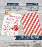 Mingle and Jingle Invitation, Let's Flamingle Christmas Birthday Invite, Editable Flamingo Party Any Age 30th Printable INSTANT DOWNLOAD 5x7