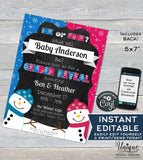 Snowman Gender Reveal Invitation, He or She What will Baby Be Baby Shower Invite, Editable Winter Baby Shower Printable