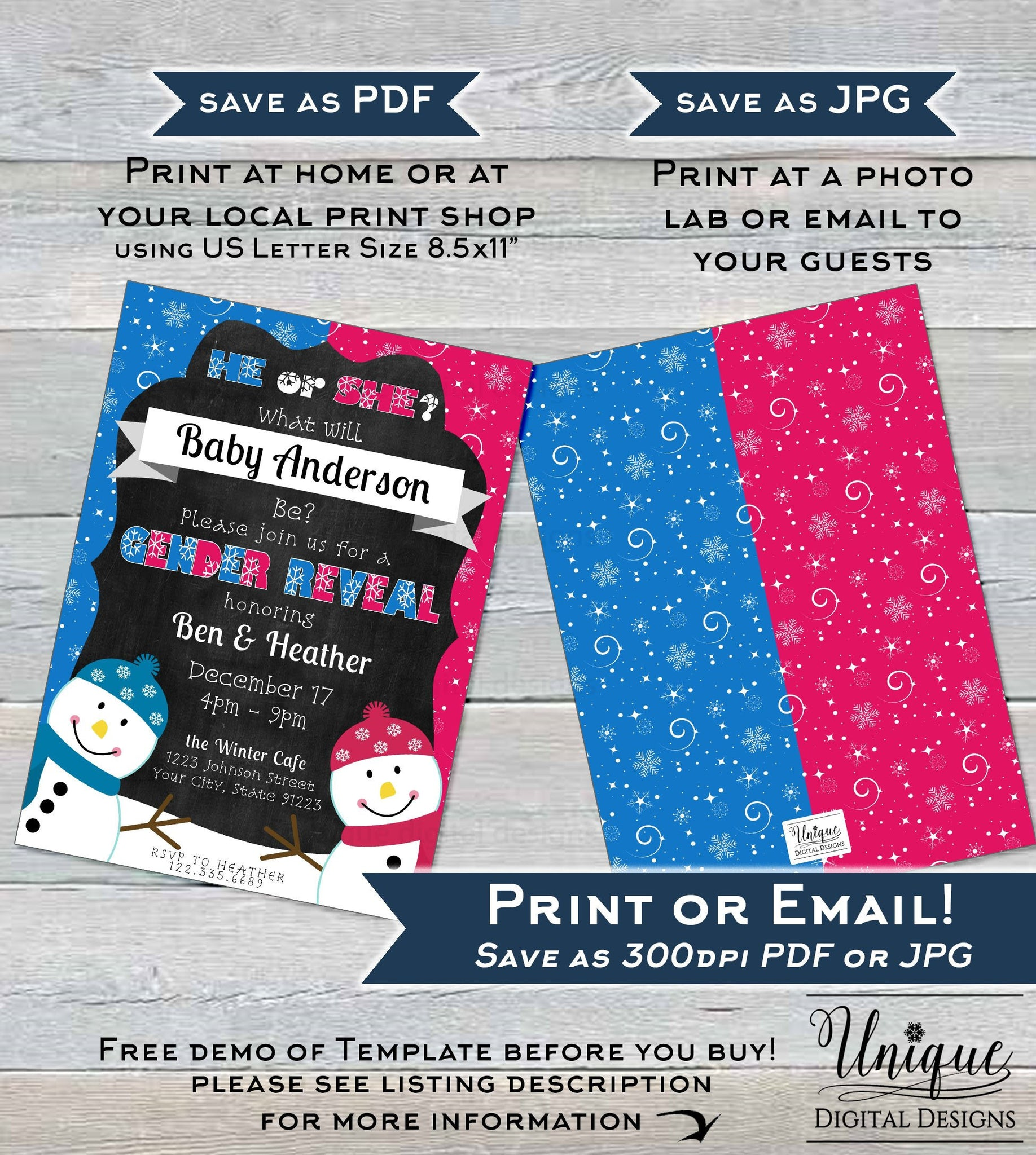 Snowman Gender Reveal Invitation He Or She What Will Baby Be Baby Sho