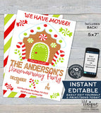 Christmas Housewarming Invitation, Editable Christmas New Home Invite, We have Moved Gingerbread Holiday Party, Printable