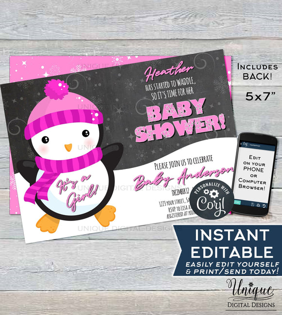 Penguin Baby Shower Invitation, Editable Winter Baby Shower Invite, It's a Girl Baby Shower, Waddle Custom Pink Printable