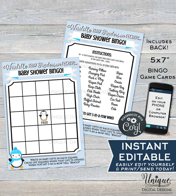 Editable Baby Shower Bingo Cards, Penguin Theme Baby Shower Game, Its a Boy Winter Baby Shower Waddle Custom Blue Printable INSTANT DOWNLOAD