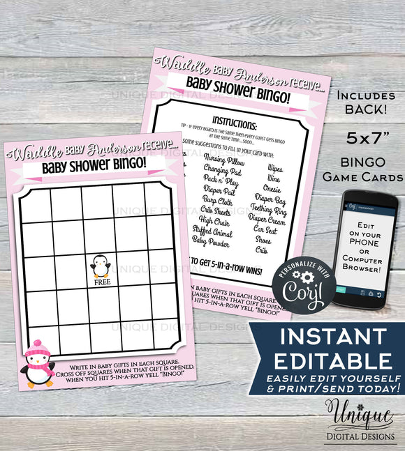 Baby Shower Bingo Card, Editable Penguin Theme Baby Shower Game, Its a Girl Winter Baby Shower Waddle Custom Pink Printable INSTANT DOWNLOAD