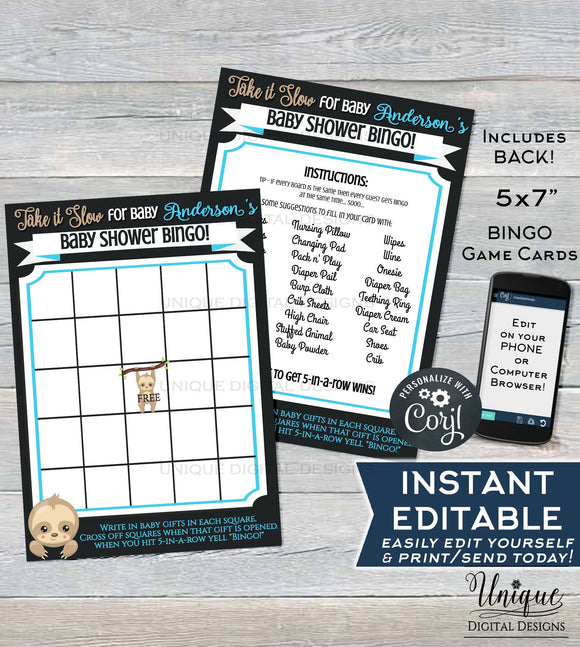 Baby Shower Bingo Cards, Editable Sloth Theme Baby Shower Game, Its a Boy Sloth Baby Shower, Spirit Custom Blue Printable INSTANT DOWNLOAD