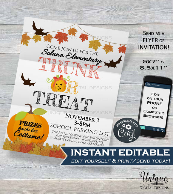 Trunk or Treat Flyer, Editable Halloween Invitation Template, Kids Church Community School Halloween Event Print INSTANT DOWNLOAD 5x7 8.5x11