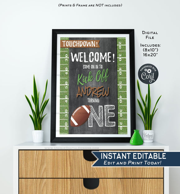 Football Welcome Sign, ANY Year, Sports First Birthday Sign Decoration, 1st Football Birthday Printable Template INSTANT EDITABLE 16x20 8x10