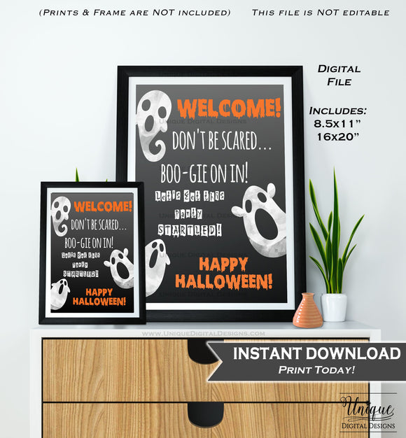 Halloween Welcome Sign, Baby Shower Halloween Party, Adult Birthday Party Decoration, Haunted House Printable INSTANT DOWNLOAD 16x20 8.5x11