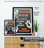 Halloween Welcome Sign, Baby Shower Halloween Party, Adult Birthday Party Decoration, Haunted House Printable
