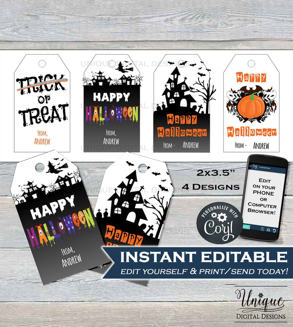 Printable Halloween Gift Tags, Kids Editable Halloween Thank you, Halloween Favor Tags, Halloween Labels, Custom Template INSTANT DOWNLOAD