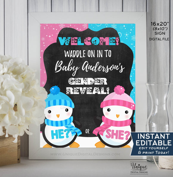 Penguin Gender Reveal Welcome Sign, He or She Waddle Baby Be, Editable Gender Reveal Chalkboard, Digital Printable INSTANT DOWNLOAD 16x20