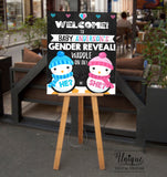 Editable Penguin Gender Reveal Welcome Sign, He or She Waddle Baby Be, Gender Reveal Chalkboard, Digital Printable