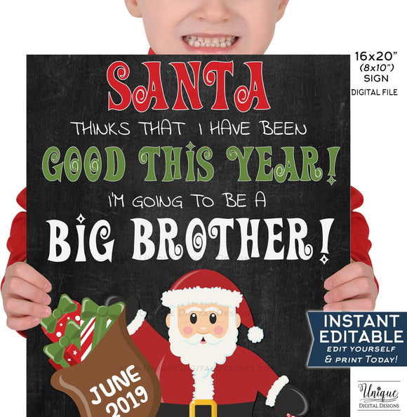 Editable Santa Big Brother Sign, Christmas Pregnancy Announcement Chalkboard, Sibling Photo Prop, Digital Printable INSTANT DOWNLOAD 16x20