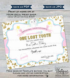 Editable Tooth Fairy Letter, Lost Tooth Certificate, Custom Tooth Fairy Receipt Clean Teeth Certified Personalize Printable INSTANT DOWNLOAD