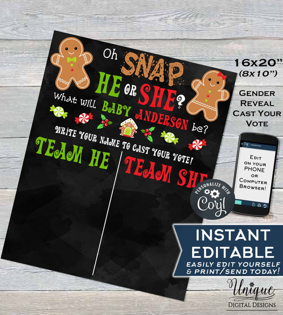 Christmas Gender Reveal Sign, Editable Gingerbread Theme Board, Oh Snap He or She What will Baby be?, Cast your Vote Sign, INSTANT DOWNLOAD