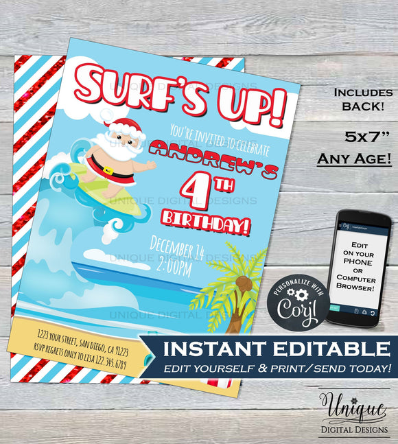 Surfs Up Santa, Editable Christmas Birthday Invitation, Summer Beach Boy Birthday Invite - ANY Age - Printable Template INSTANT DOWNLOAD 5x7