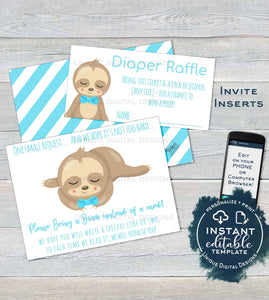Sloth Baby Shower Diaper Raffle Ticket, Books for Baby Shower Invitation Inserts Editable Sloth theme Baby Shower Gift Card