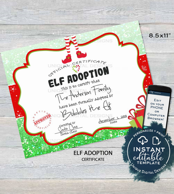 Editable Elf Adoption Certificate, Elf Adoption Letter, Custom Santa Certified, North Pole, Christmas Elf Letter Printable, INSTANT DOWNLOAD