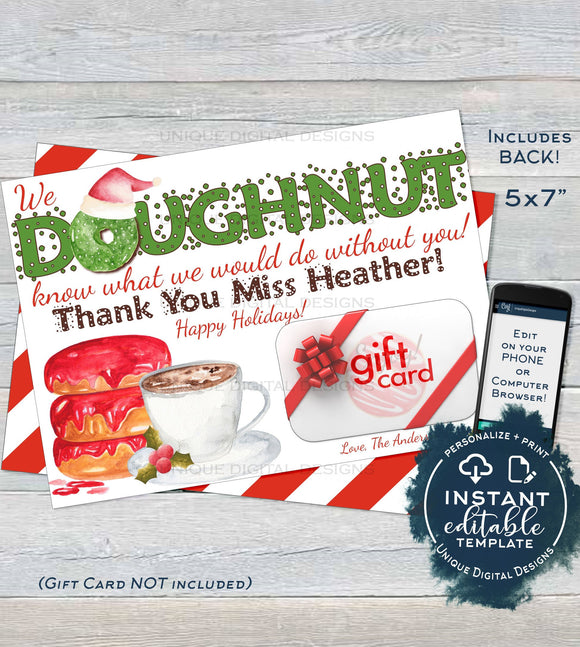 Donut Thank You Gift Card holder, Editable Christmas Thank You Doughnut, School Teacher Coffee and Donut Template Printable INSTANT DOWNLOAD