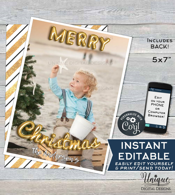 Editable Photo Christmas Card Template Printable, Christmas Card with photo, Holiday Cards Photo Greeting, Gold Black INSTANT DOWNLOAD 5x7