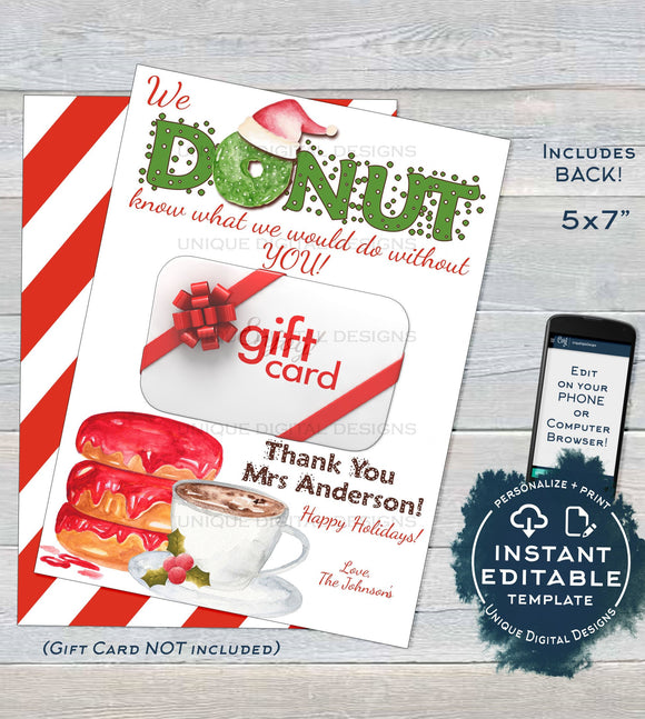 Editable Donut Gift Tags, Christmas Teacher Thank You Gift Card Holder, Daycare Printable, Donut Know What Do Without You INSTANT DOWNLOAD