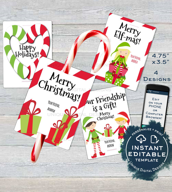 Candy cane Christmas Classroom Favors Tag, Kids Editable Christmas Thank You Cards, Printable Custom Teachers Template diy INSTANT DOWNLOAD