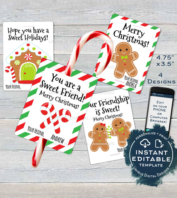 Candy cane Christmas Favors Tag, Kids Classroom Editable Christmas Thank You Cards, Printable Custom Teachers Template diy INSTANT ACCESS