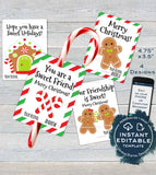 Candy cane Christmas Favors Tag, Kids Classroom Editable Christmas Thank You Cards, Printable Custom Teachers Template diy INSTANT DOWNLOAD