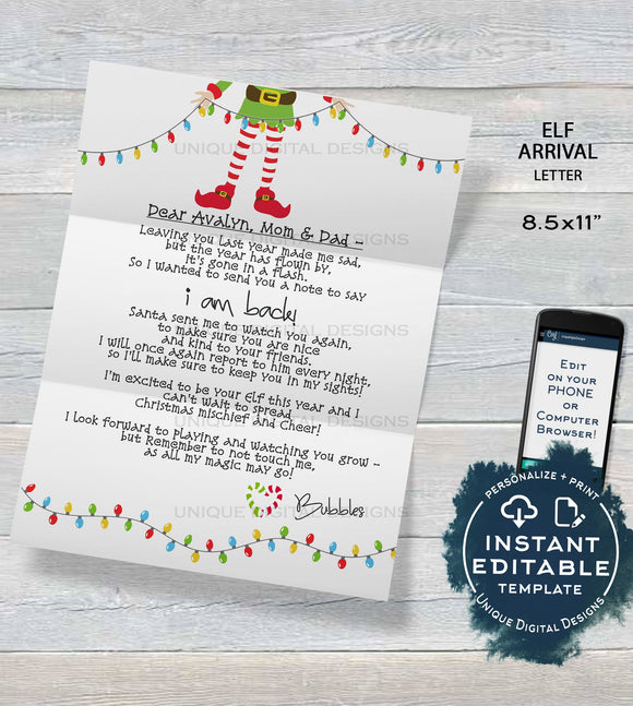 Editable Elf Arrival Letter, Elf Welcome Letter, Custom Santa Letter, North Pole, Christmas Elf Letter Printable,