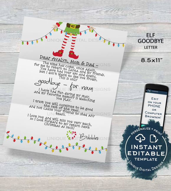 Editable Elf Goodbye Letter, Elf Farewell Letter, Custom Santa Letter, Shelf Prop, Christmas Elf Letter Printable,