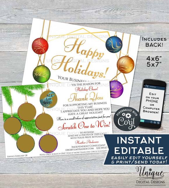 Printable Rodan and Happy Holiday Cards, MLM Skincare Christmas Scratch Off, Thanks Preferred Customer Christmas Gift, Custom INSTANT ACCESS
