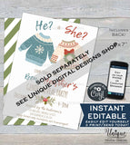 Christmas Gender Reveal Invitation, Editable Christmas Elf Party Invite, Winter Baby Reveal Holiday Party Printable INSTANT DOWNLOAD 5x7