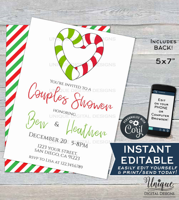 Editable Christmas Couples Shower Invitation, Winter Christmas Party Invite, Wedding Reception Holiday Party, Printable