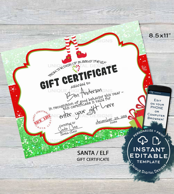 Gift Certificate Template, Editable Gift Certificate from Santa, Custom Santa Letter, Last Minute Christmas Elf Printable, INSTANT DOWNLOAD