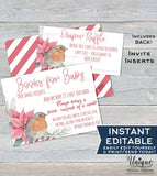 Christmas Baby Shower Invitation KIT Diaper Raffle, Books for Baby Invite Insert, Thank You Rustic Sunflower Baby Printable