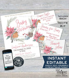 Christmas Baby Shower Invitation KIT Diaper Raffle, Books for Baby Invite Insert, Thank You Rustic Sunflower Baby Printable INSTANT EDITABLE